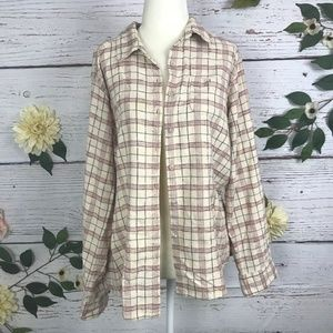 Tops - Plaid Flannel Button Up Red Tan Long Sleeve Top